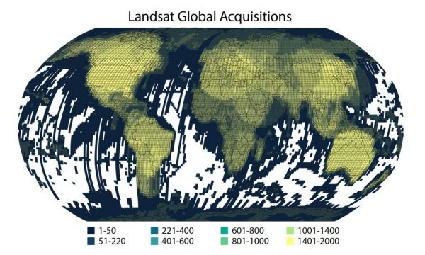 Landsat 1-8 path/row density map of the over eight million Landsat acquisitions from 25 July 1972 to 31 October 2018 that are available for download at the USGS EROS Center's Landsat archive (www.earthexplorer.com). Image courtesy: Matt Radcliff